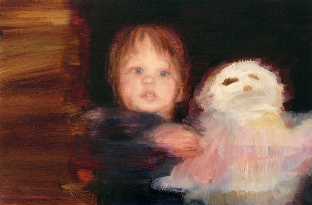 Owl and the pussy cat , Oil on board, 20 x 27cm, 2007