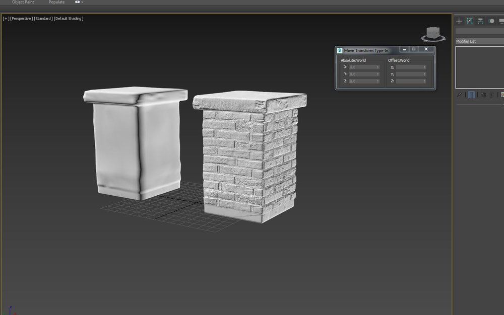 Up Next.. 3D Coat Sculpt of Wall section - hi and lo rez and then Normal Map baking process .. I will have sets of Both Hi and Lo depending on Cameras position in the scene…