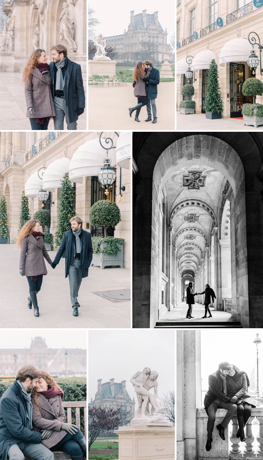 wedding engagement session paris ritz vendome