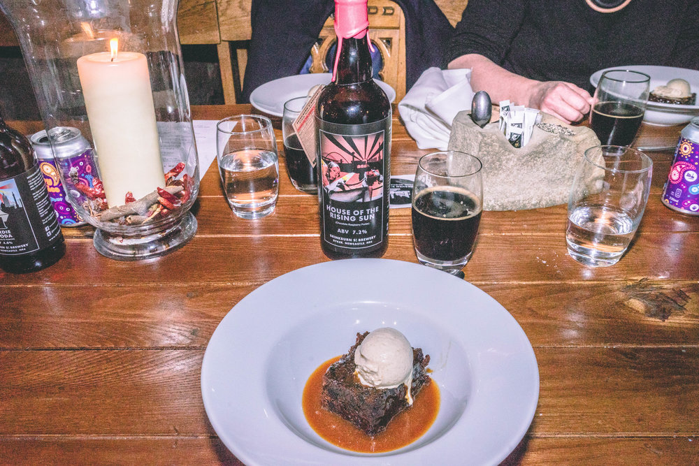 Sticky toffee pudding, salted caramel sauce, banana ice-cream with House of the Rising Sun – 7.2%.jpg