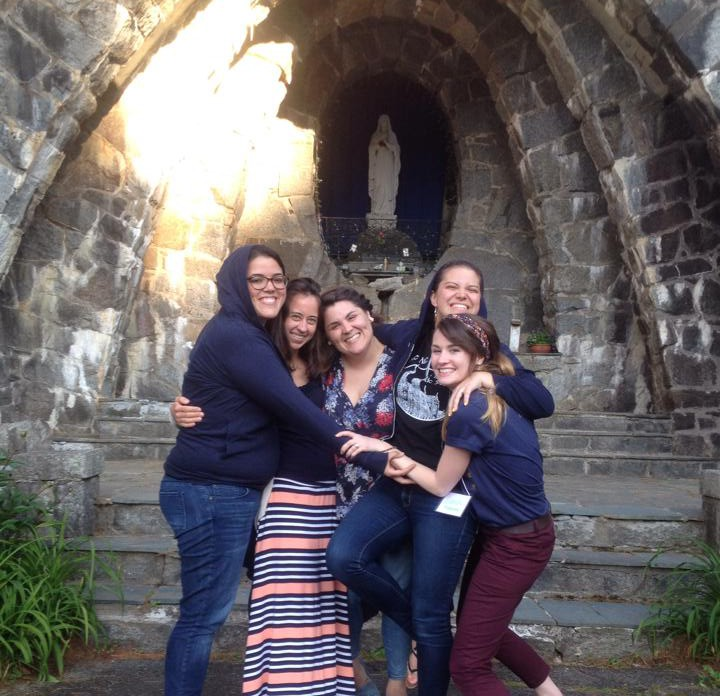 Just a few of us former residents of 728 at BU in front of the Grotto where my life was literally changed on a retreat nearly 7 years ago.