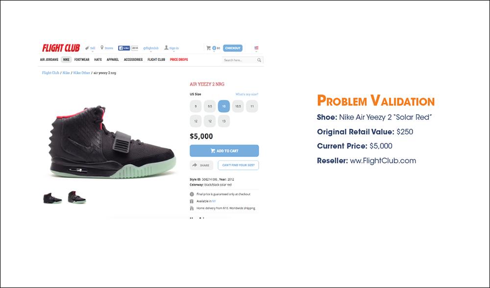 "Screenshot of Nike Air Yeezy 2 ""Solar Red"" on Flight Club Website"