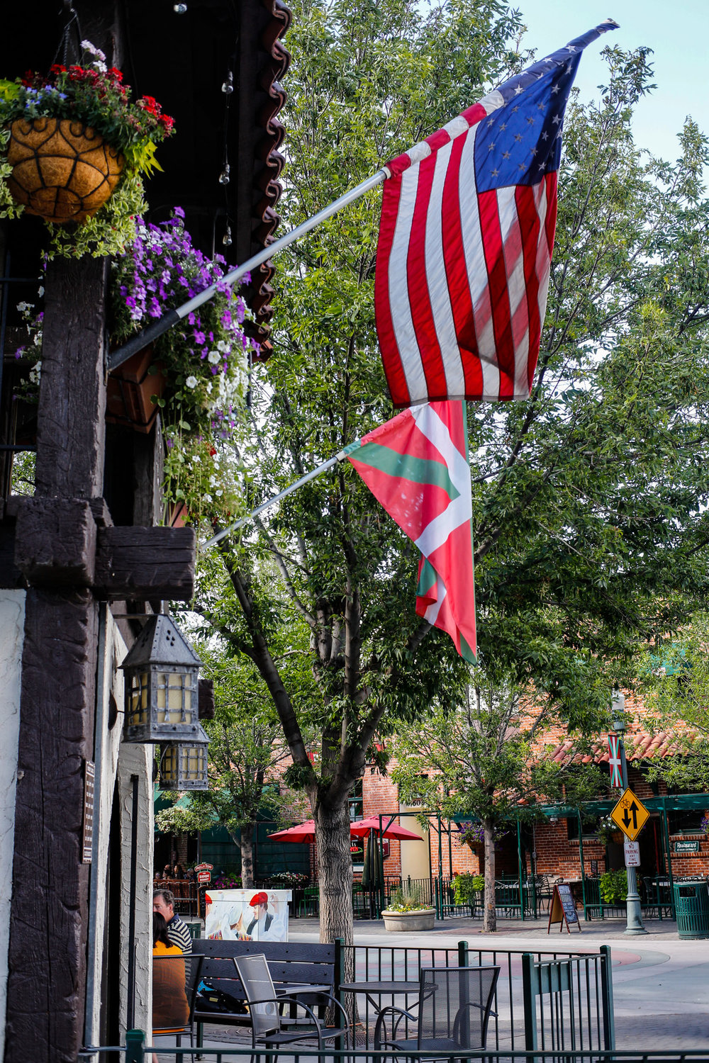 Basque and American Flags flying in Boise, ID