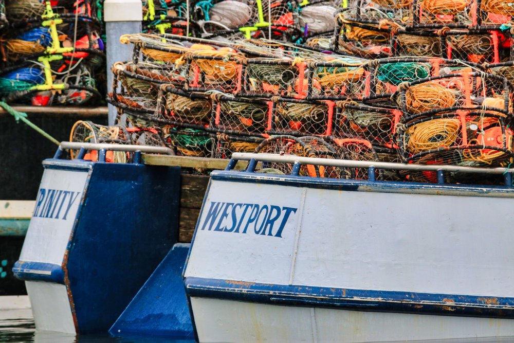 F/V Trinity loaded with crab pots awaiting the start of Dungeness crab season.
