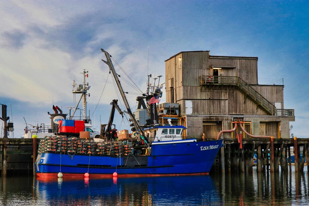 The F/V Lisa Marie loading in Westport, WA and two days before they lost propulsion and needed to be towed into Astoria by the Coast Guard.