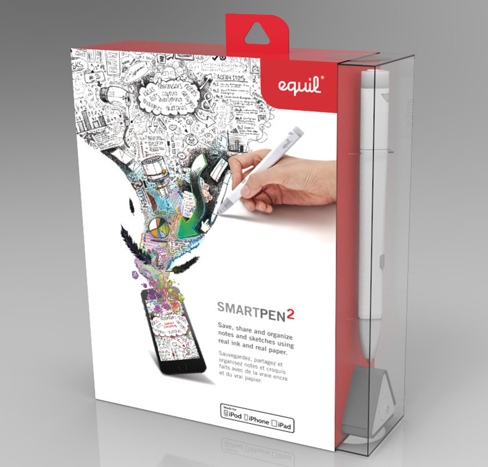 Luidia Equil Smartpen 2 Ad & Packaging Art - 3D Package Prototype Renders