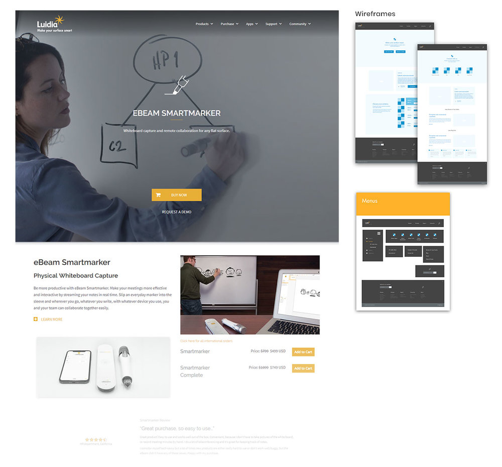 Luidia.com Redesign - eBeam Smartmarker Landing Page
