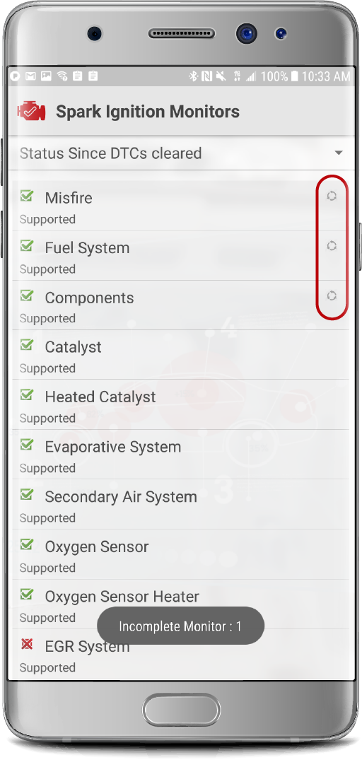 Monitors — Check Engine