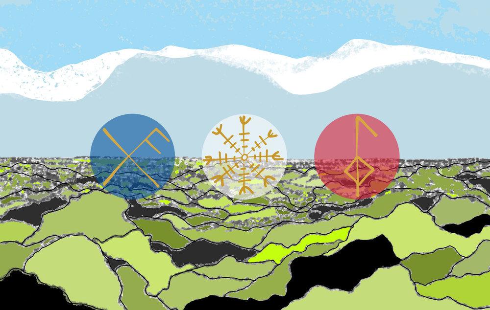Keflavik: Galdrastafur (Icelandic Runes)   2018   digital painting