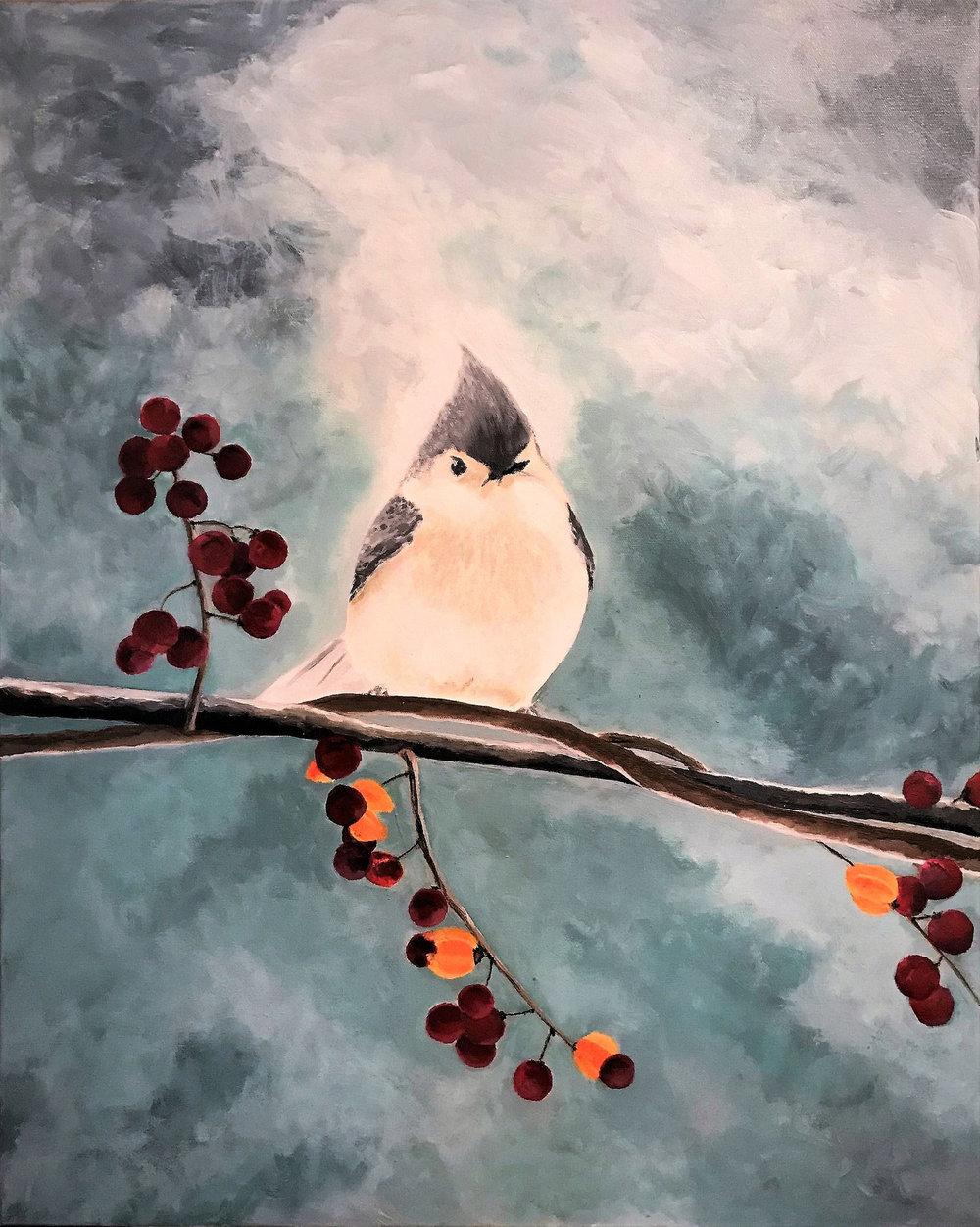 """A Snowy Perch   2016  30"""" x 24"""" (76.2 x 60.1 cm)  acrylic on canvas    $3,200"""