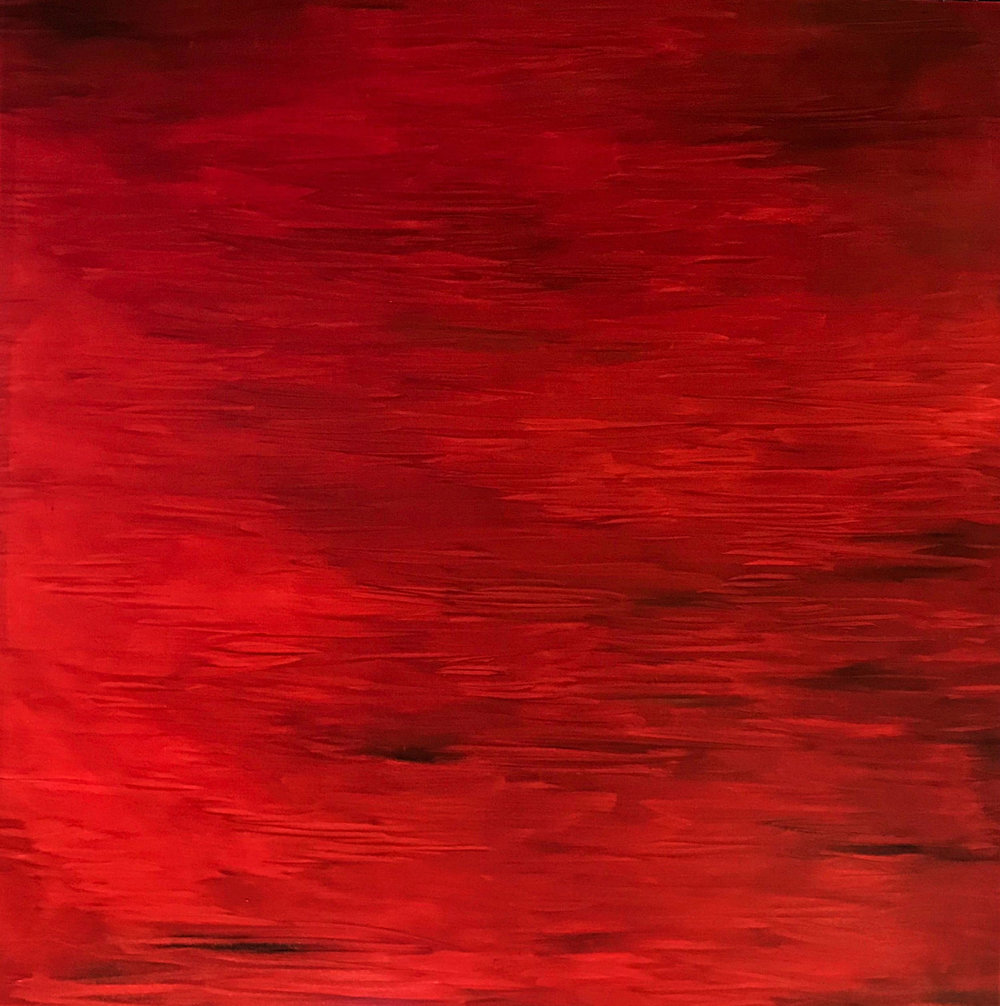 "Red I   2009  48"" x 48"" (121.9 x 121.9 cm)  oil on canvas   PRIVATE COLLECTION  🔴"