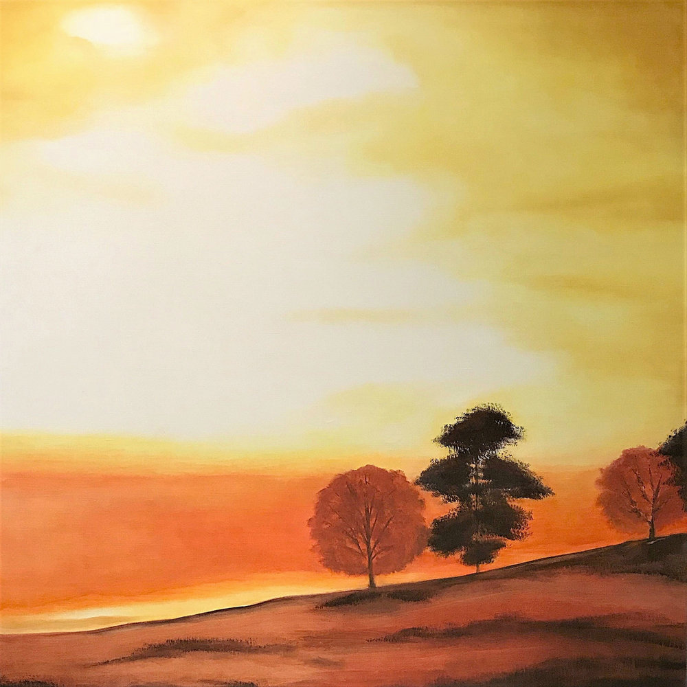 "Fall Sunset   2010  40"" x 40"" (101.6 x 101.6 cm)  oil on canvas    $6.800"