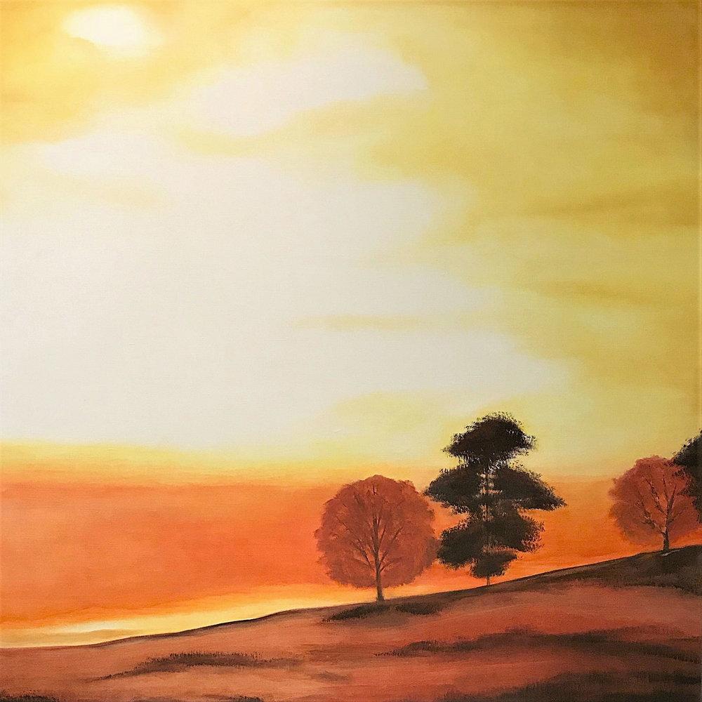 "Fall Sunset   2010   40"" x 40"" (101.6 x 101.6 cm)   oil on canvas"