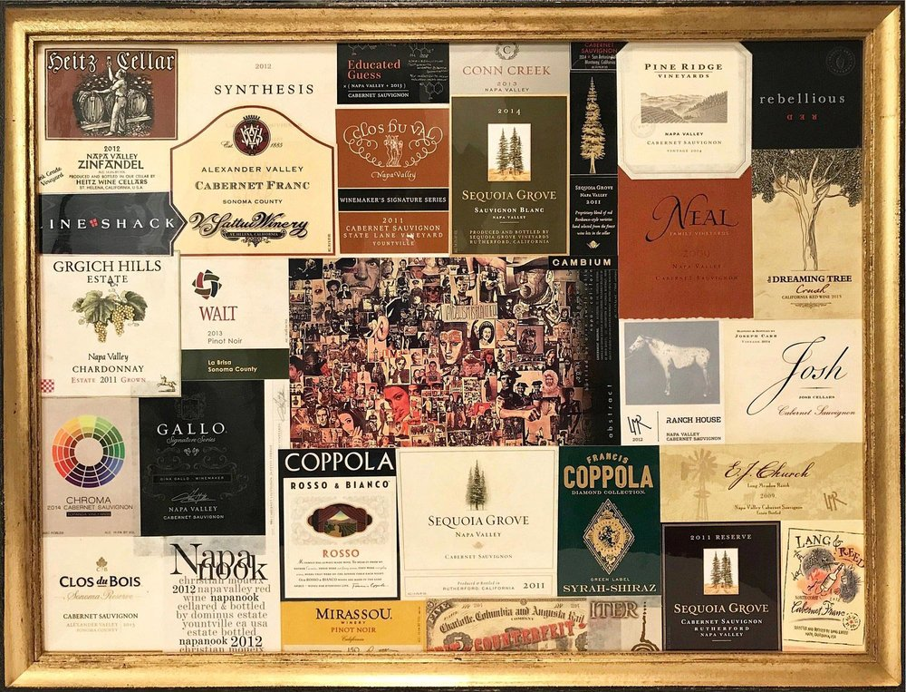 "Presley   2017  18"" x 24"" (45.7 x 61.0 cm)  wine label collage    $850"