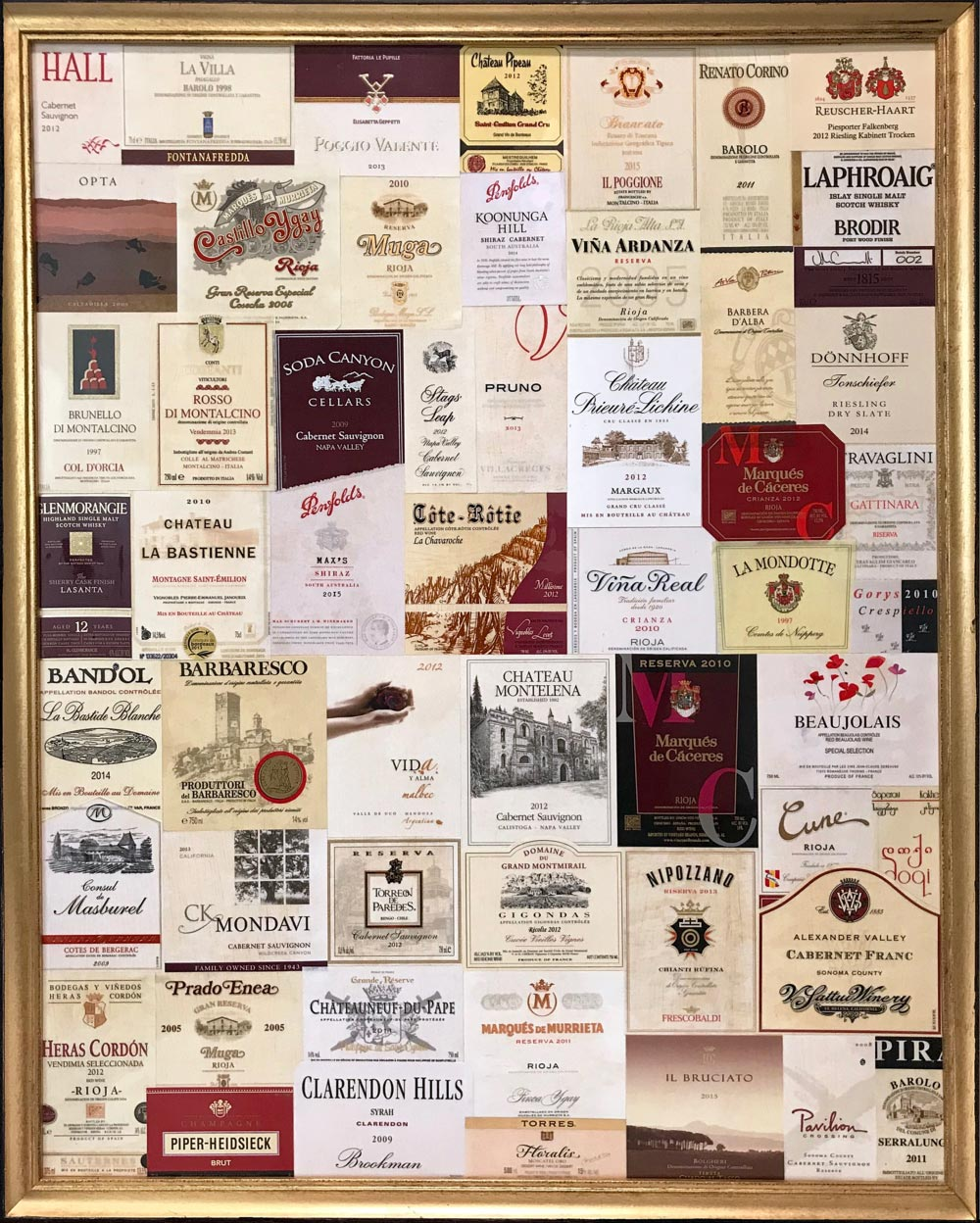 "Burgundy and White   2017  30"" x 24"" (76.2 x 61.0 cm)  wine label collage    $1.250"