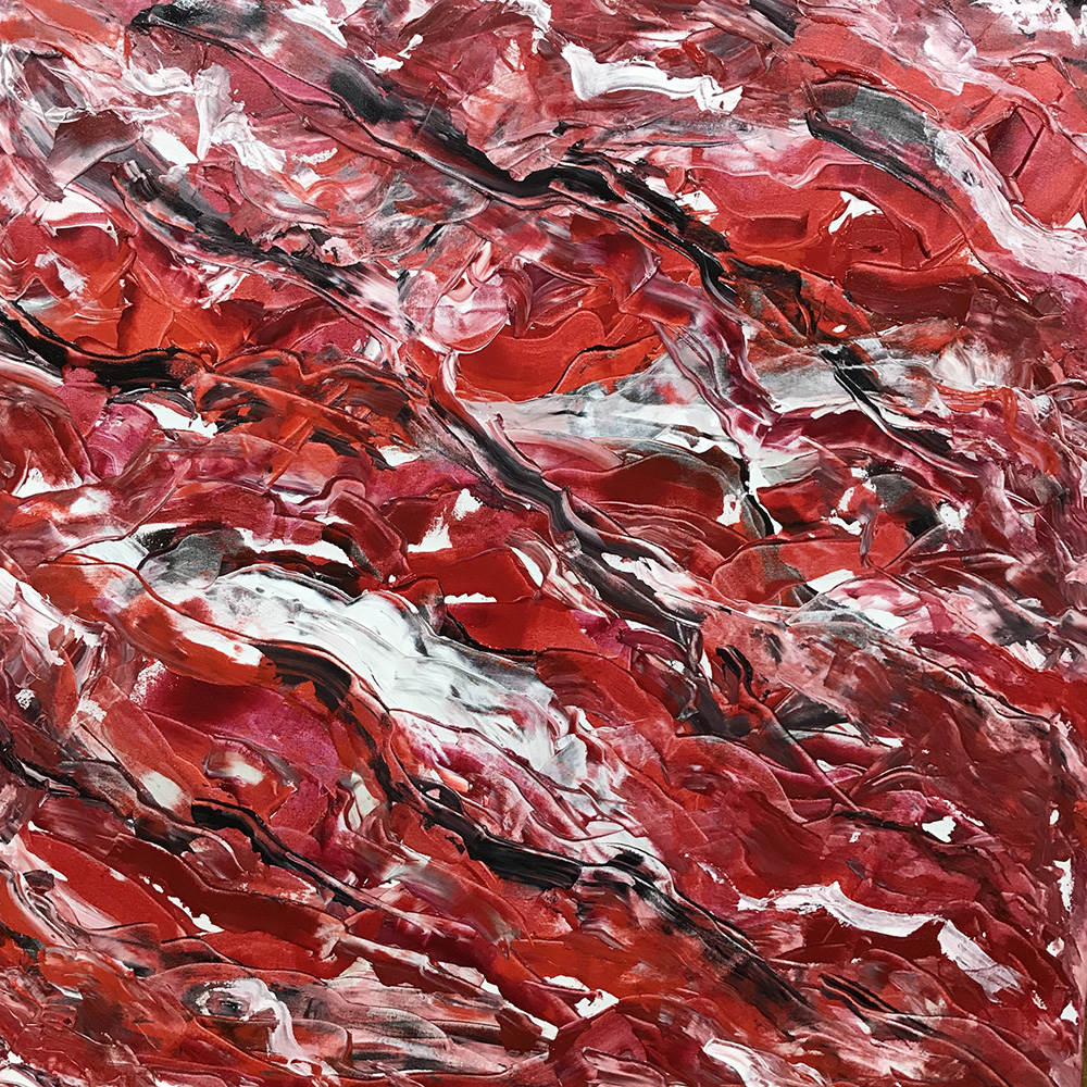 """Red IV   2018 48"""" x 48"""" (121.9 x 121.9 cm)  acrylic on canvas   PRIVATE COLLECTION  🔴  Hoboken, New Jersey"""