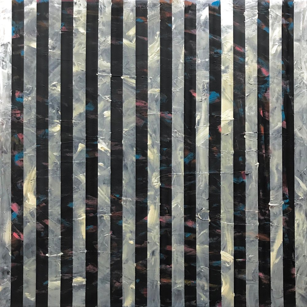 """Bamboo Forest  2018   48"""" x 48"""" (121.9 x 121.9 cm)  acrylic, black gesso on canvas"""