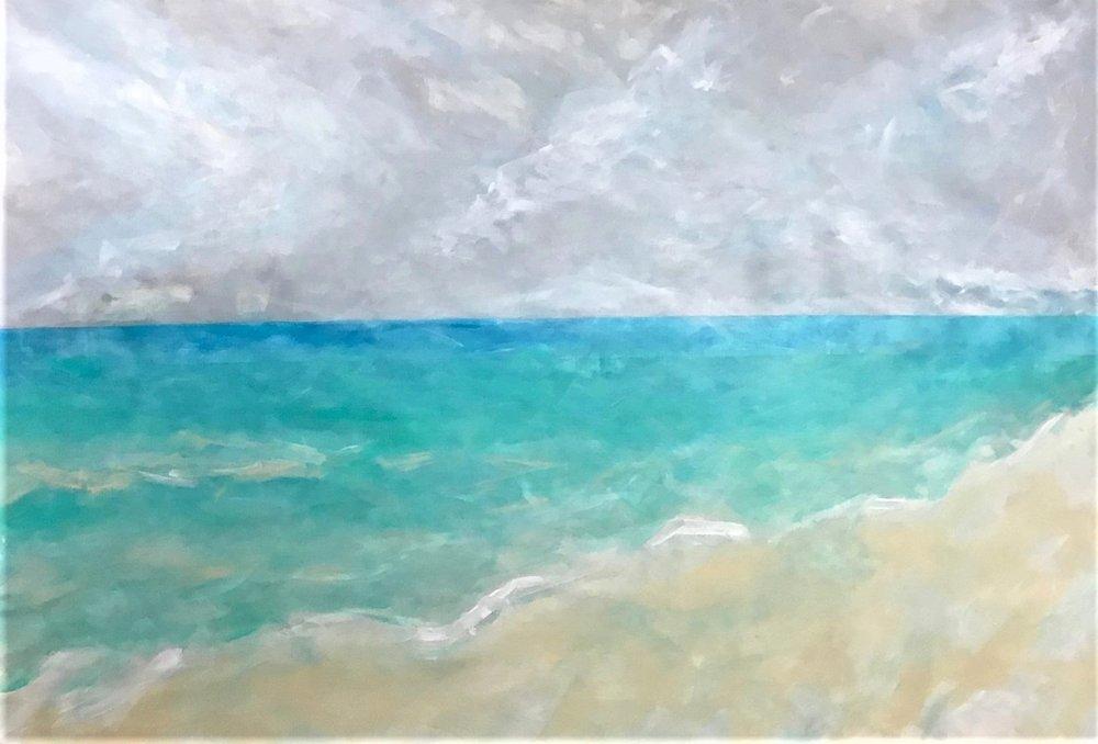 "PRIVATE COLLECTION    Seascape IX   2018 30"" x 54"" (76.2 x 137.2 cm) acrylic on canvas"