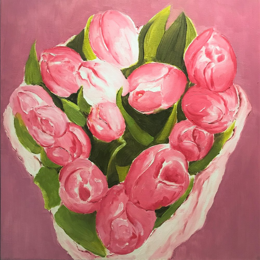 "Bouquet of Tulips   2003 🔴 20"" x 20"" (50.8 x 50.8 cm)  oil on canvas   Manila, Philippines"