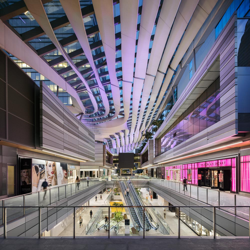 At night, the retail center comes alive with LED lights