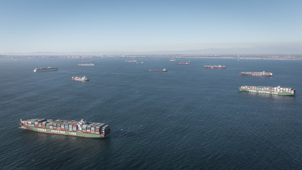 The size of these ships blows the mind; many of them are over a thousand feet long.