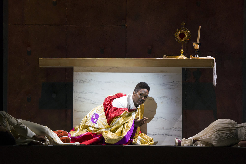 Nmon Ford, the Celebrant, in Lincoln Center's production of Leonard Bernstein's MASS at the 2018 Mostly Mozart Festival. © Richard Termine.