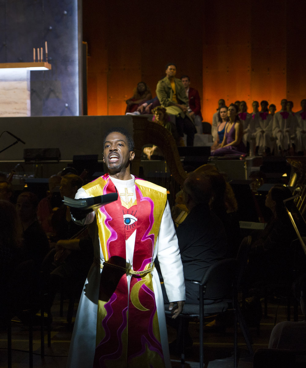 Nmon Ford, the Celebrant, in Lincoln Center's production of Bernstein MASS at the 2018 Mostly Mozart Festival. © Richard Termine.