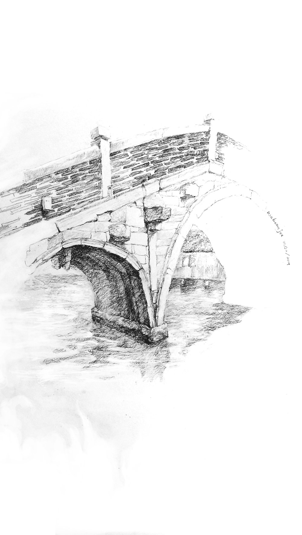 <Old Stone Bridge From My Hometown>  390*543mm  November, 2014  Charcoal on paper