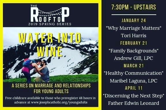 "Join us tomorrow night as we kick off a new series of The Rooftop, ""Water into Wine."" We'll be diving into marriage and relationships this semester. For all young adults single, married, dating or divorced! #theRooftop"