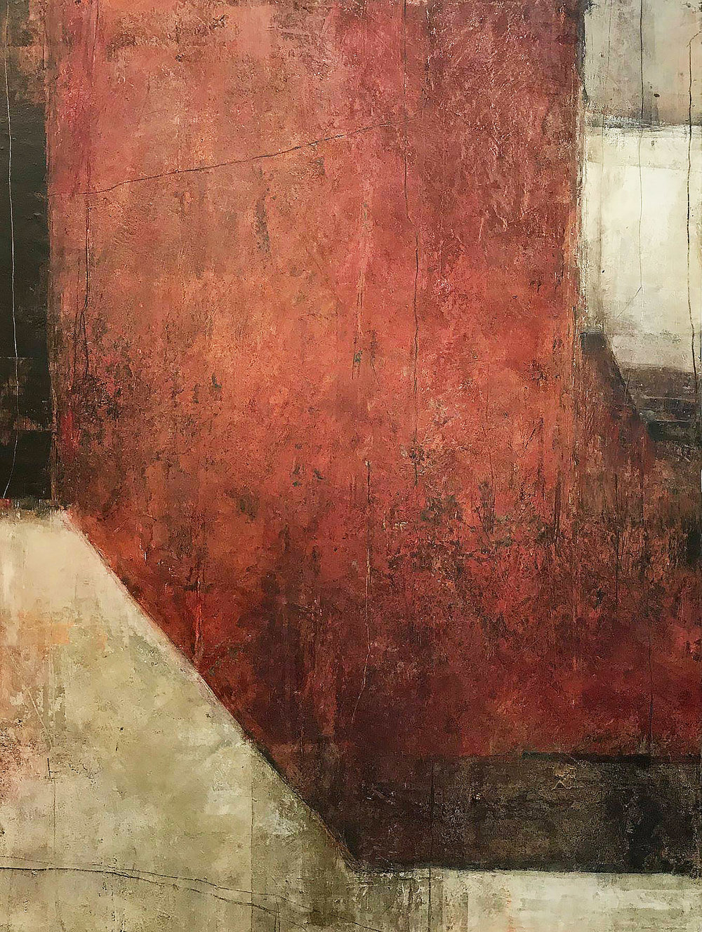 Dwelling, Rebecca Crowell . Oil and cold wax on panel, 48x36 in, 2018.