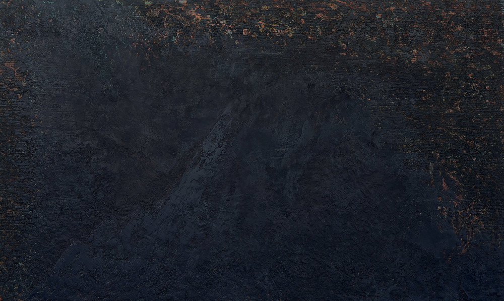 inquiry (ii)  - oil|cold wax|sand|wood ash on panel - 30 x 60 inches - 2018