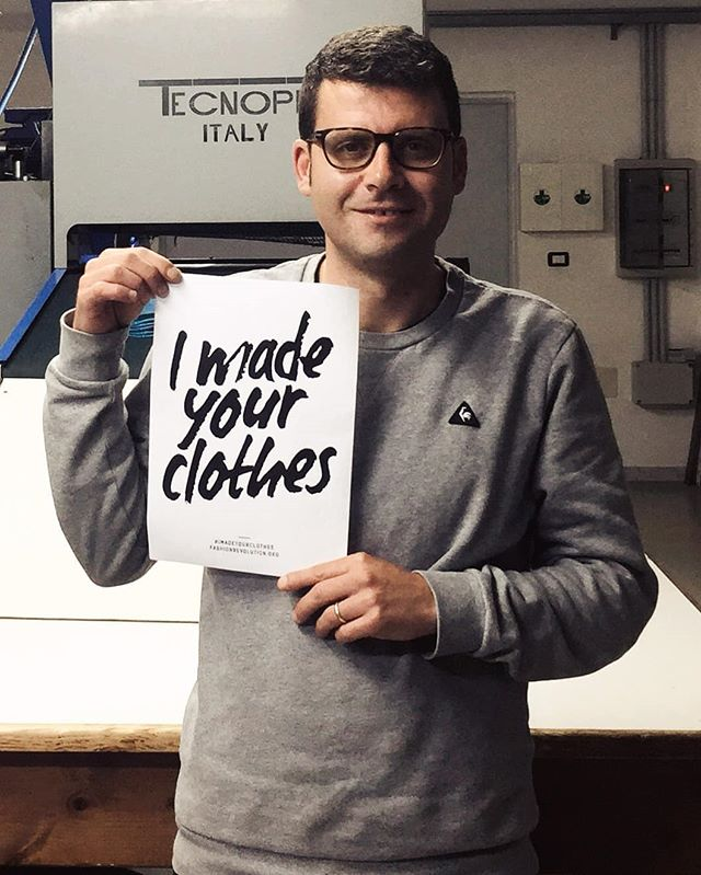 Feeling inspired by the @fash_rev  As a small business owner it is important for me to promote ethically made clothing.  Here is one of our manufacturers, Fabio 😊 from Italy 🇮🇹 Ask yourself and others how is your clothing made. Spread the message of greater transparency. 🧦💪 #whomademyclothes