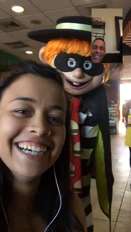 No matter how far from home I go, I carry them with me. Yes, even when the creepiest Hamburglar sneaks up on me Facetiming them in a McDonald's in Guatemala.