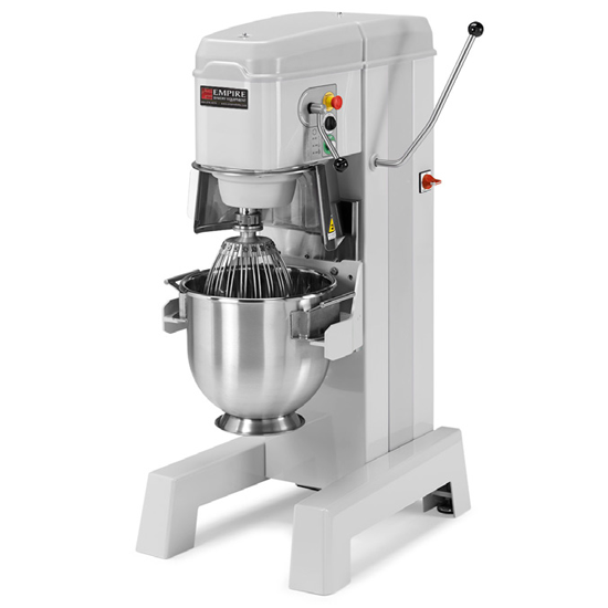 Vertical Mixers - 1.5 HP provides speeds of 108,195 and 355 RPM.The motor is totally enclosed, permanently lubricated, and thermally protected for years of reliable use.Fully sealed, heat treated carbon steel gears offer smooth, quiet operation.Lever-action bowl lift is easy to operate and self locking in top position.Spiral dough hook, flat batter beater and wire whip are all standard.Bowl guard with magnetic lock prevents the unit from running if guard is open.Overload Switch on all mixers prevents motor burn-out.All switches are moisture resistant for clean operation.Available in 20, 30, 40 and 60 Qt. models. Additional Models available soon.