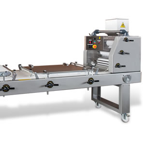 Obliq-2 Dual Plate Long Loaf Dough Moulder - Intended for the industrial baker, the heavy-duty Obliq-2 Dual Plate Dough Moulder is perfect for high capacity production of breads, rolls, long-loaves and more. Boasting a six roller sheeting head, durable curling net and dual adjustable moulding plates the Obliq-2 Dough Moulder consistently and accurately shapes product from 1.75 to 70.5 ounces with a maximum length of 25.6 inches. The high density sheeting rollers are non-stick making it suitable for a wide range of dough, especially those with medium and high percentages of water.Precision adjustments allow you to accurately control production, applying less stress to the dough and allowing you to obtaining a perfectly moulded product. Independent height adjustments on both the front and rear of each moulding plate allow for even greater control. The Obliq-2 Dough Moulder, pictured here with both the universal moulding plate and motorized pressure board, is equipped with side guides to finish the dough ends and guarantee the uniformity of each loaf.FeaturesSix easily adjustable sheeting rollers made of high density non-stick plastic prevent sticking.Dual moulding plates provide accurate and consistent loaf moulding.Solid construction assures durability with minimal maintenance.Easy to use design allows for quick and precise setting of centering flaps, rollers,table and guides.Open design allows for simple cleaning.Durable wheels with brakes enable simple maneuvering of the machine.Available with universal moulding plates and guides or with specifically sized plates with adjustable curvature.Motorized pressure board and dough cutting knives available.Hand wheel adjustable side guides also available.