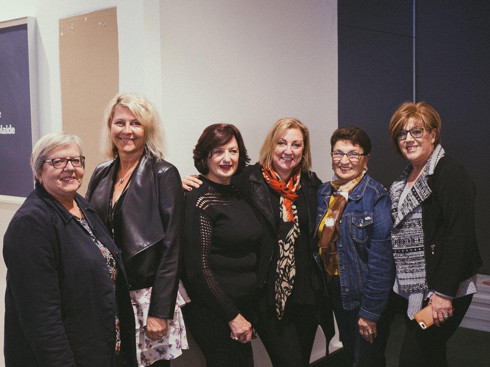 L- R: Nat Fedyk (Ukraine), Deb Tribe (ABC Saturday Breakfast),Hellas Lucas (Greece), Sonya Feldhoff (ABC Afternoons),Rosa Paparella (Italy),Anna Farrugia (Italy)