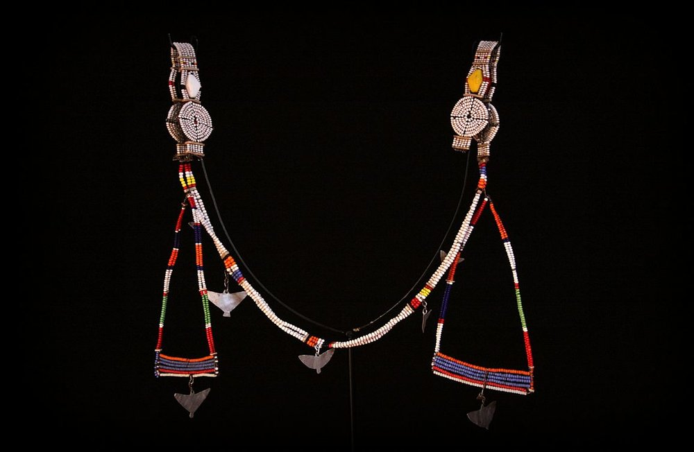 Maasai Beaded Earrings and Necklace. Note Necklace attaches to ear piercings. Maasai Tribe. East Africa.jpg