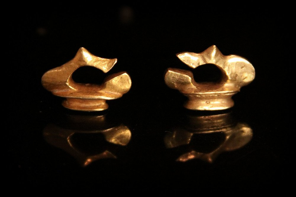 Rare Early Classic Period Gold Earrings. Java, Indonesia.jpg