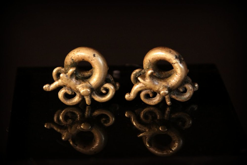 Antique Dayak Aso Children Earrings. Borneo, Malaysia.jpg