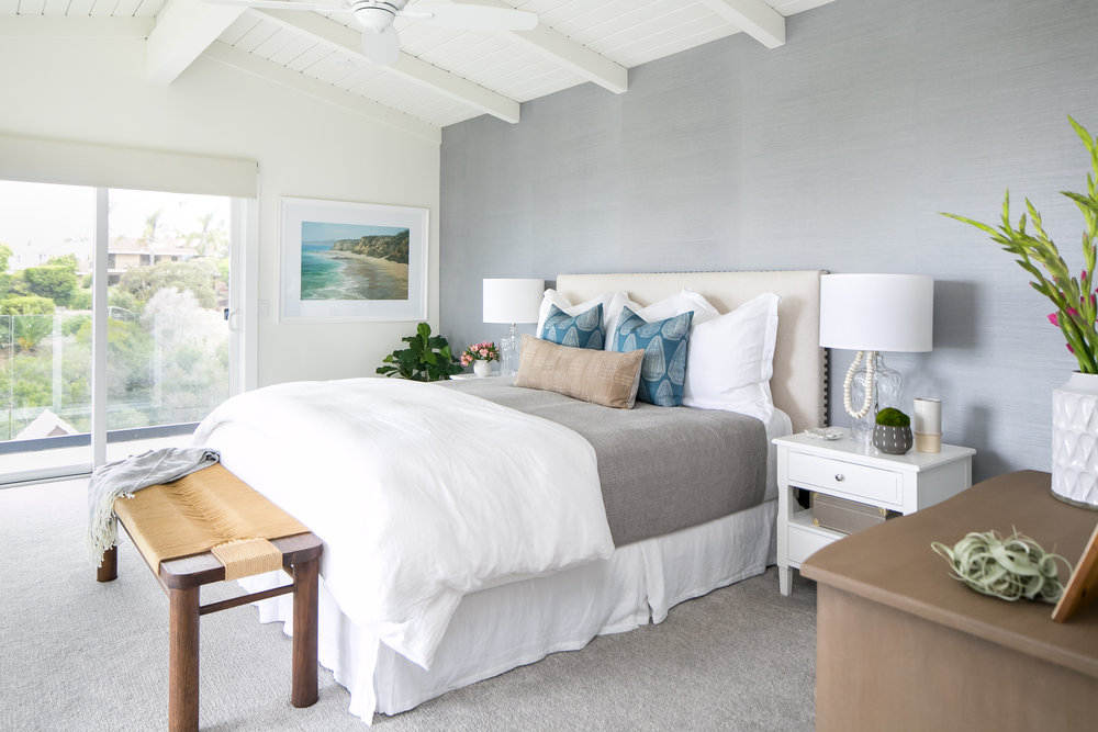 Gaviota Residence - Coastal Master Bedroom by San Clemente-based interior designer Allison Merritt Design