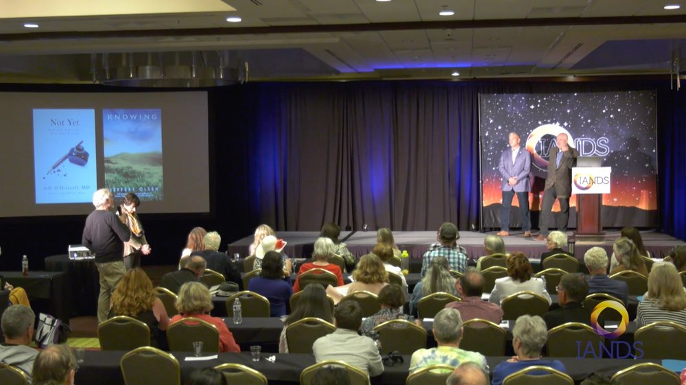 Speaking with Jeff Olsen at the International Conference of the International Association for Near-Death Studies, Bellevue, WA