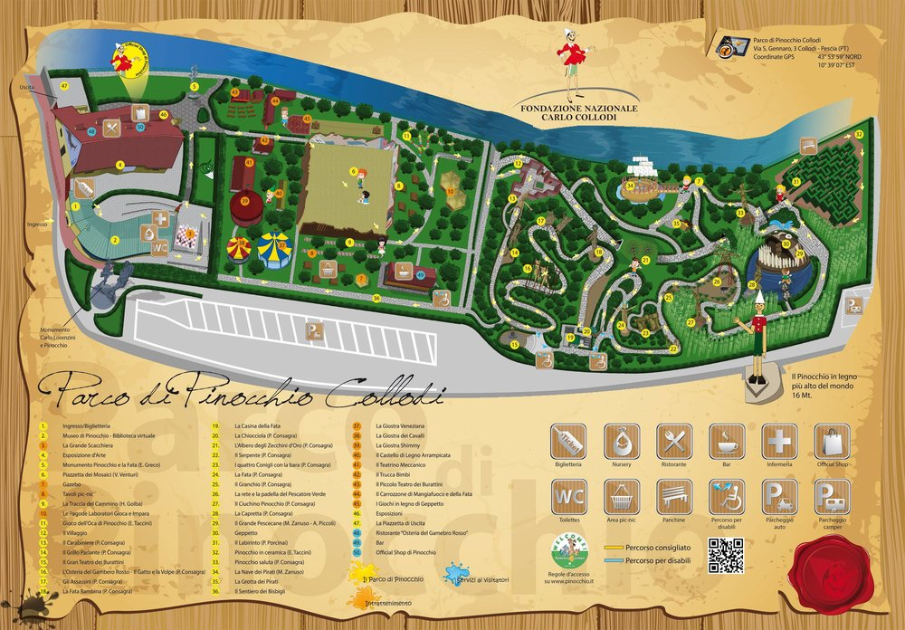 """Pinocchio Park - Collodi is a small Tuscan village known worldwide for being the birthplace of Carlo Lorenzini, the literary father of """" the adventure of Pinocchio"""", and for its magnificent theme around Villa Garzoni."""