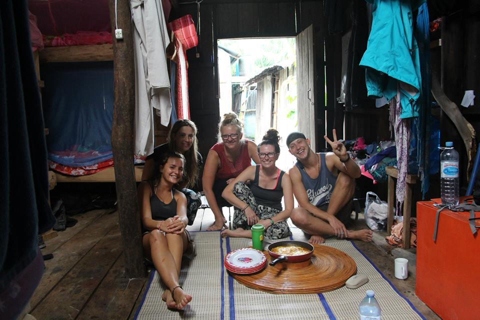 Cara and Anna with friends in Koh Tui village.