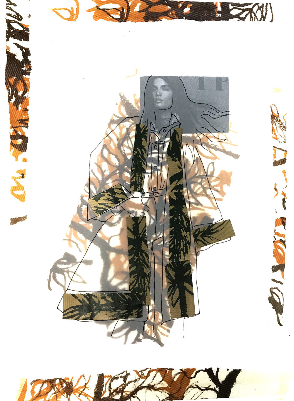 autumn feels - Mixed media; collaged illustration using my print.