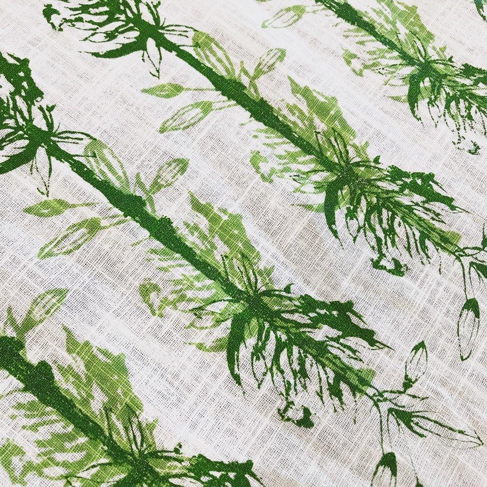Final Print - Floral and organic. A heavyweight linen fabric.