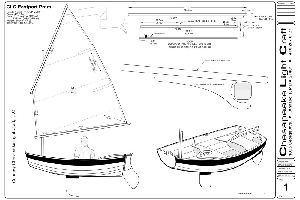 Chesapeake Light Craft, Eastport Pram drawings