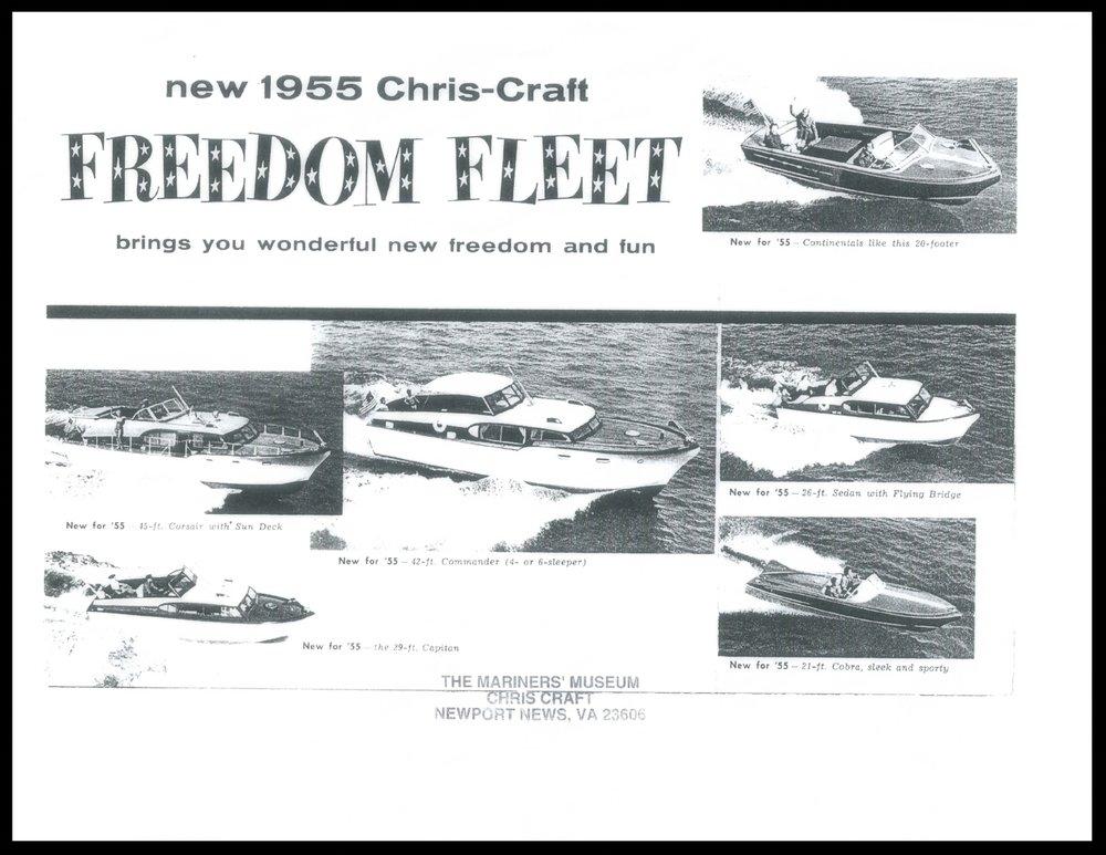1955 Chris Craft Corsair, 45 feet. Sales Brochure Cover