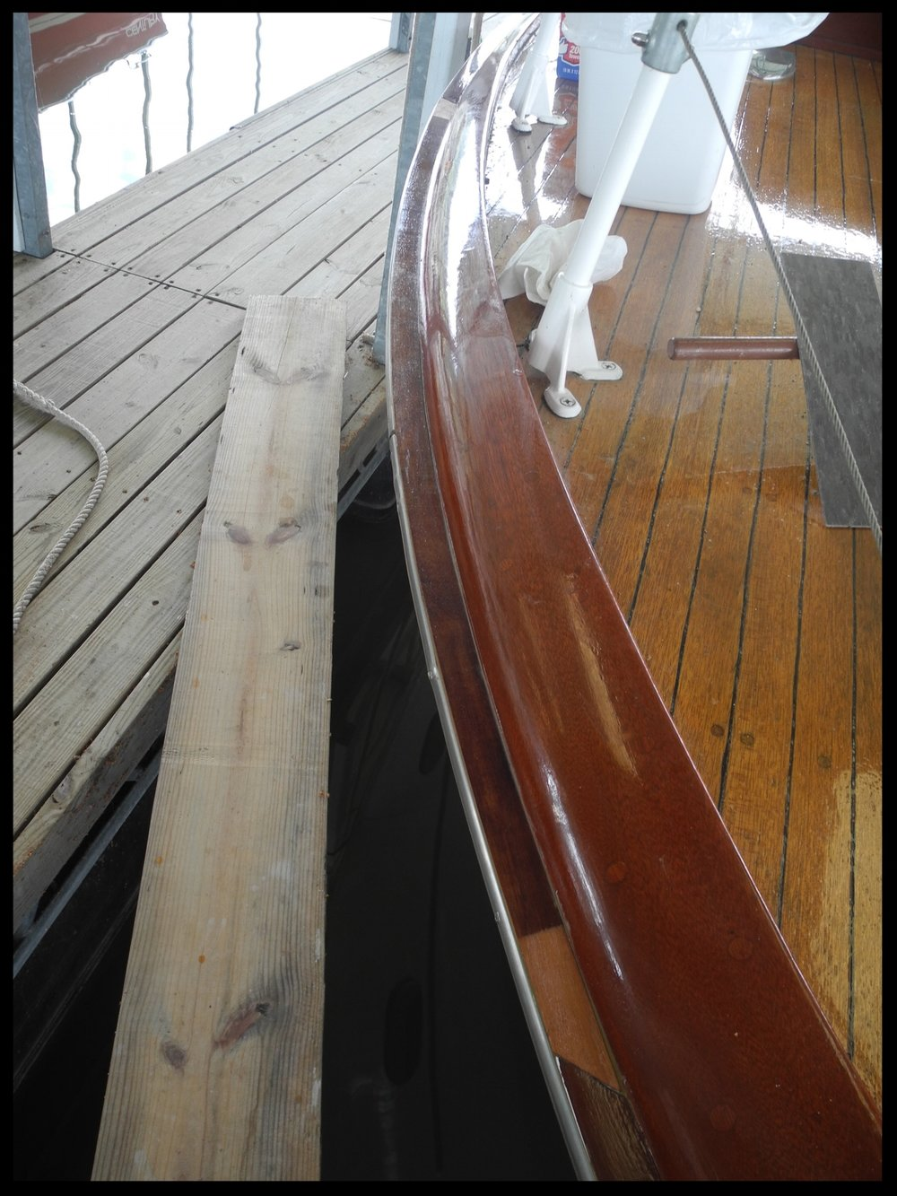 Starboard bow rail repaired.