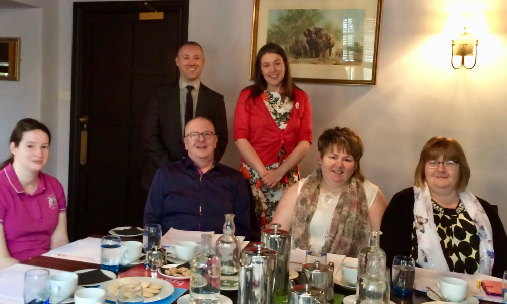 - In the photo are:(Top Row - left to right): Dr Paul Cameron, Aileen Campbell MSP(Second Row - left to right): Catriona Gray, Chris Bridgeford, Alison Riddochand Roz Mackenzie.