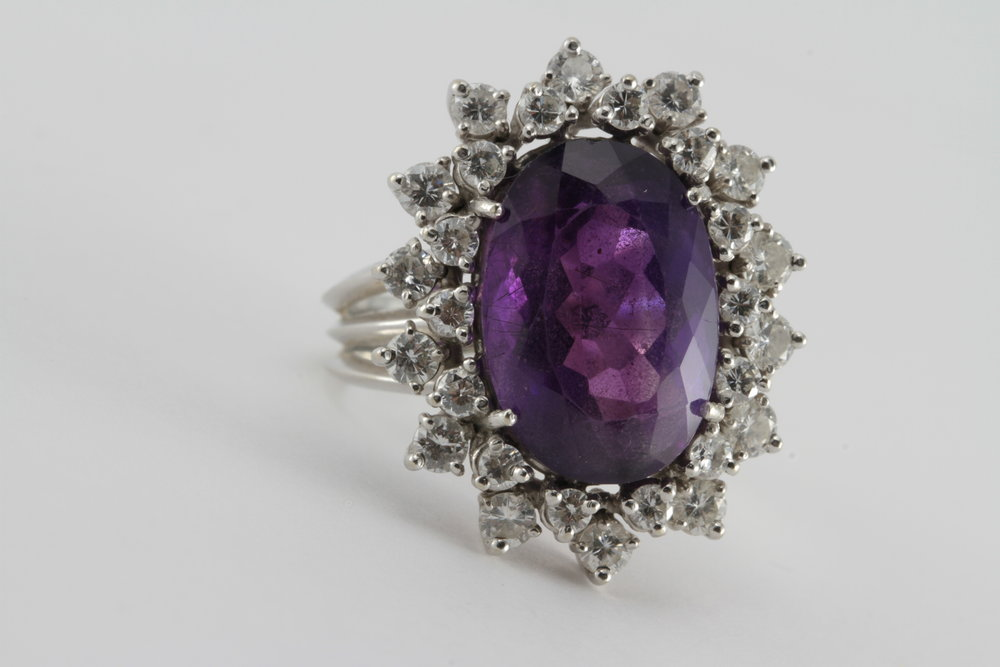 18k gold princess di style amethyst - cocktail ring